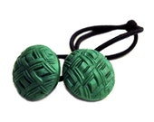 Jade Green Ponytail Hair  Tie - Vintage Glass Buttons Ponytail Holder