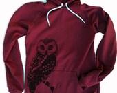 Hoody Dress - OWL  - American Apparel Women's Fleece extra-length Hoodie
