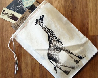 "GIFT BAG - 8 x11"" GIRAFFE (in High Tops) - Cotton Eco Reusable Drawstring Cloth Handprinted Bag Zen Threads"