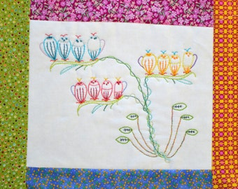 """PDF Stitchery Pattern """"Fairy Pods"""" Whimsical Flower Embroidery"""
