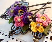 Hair Pin - Tiny Crocheted Flowers and Austrian Crystals - Antiqued Brass Fancy Vintage Style Hair Accessory