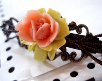 SALE - Hair Clip - Pink Rose Antiqued Brass Filigree Hair Accessory - Flower Cabochon Barrette