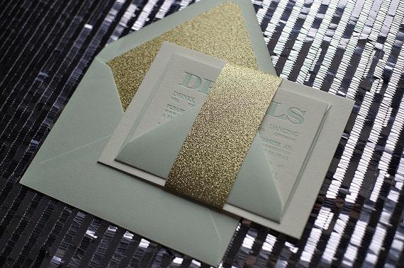 Mint & Gold Glitter Letterpress Wedding Invitation - SAMPLE