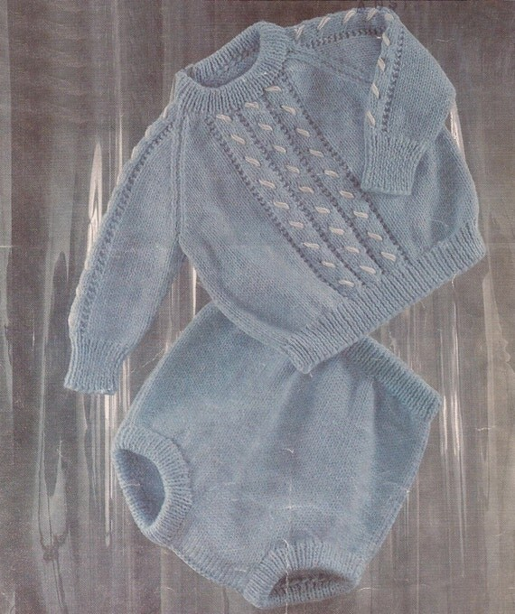 PDF Knitting Pattern Baby Boys Jumper and Pants to fit Sizes
