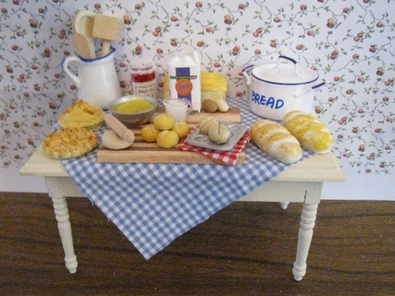 Baking Day Table. Buttermilk Farm. Twelfh scale dollhouse miniature