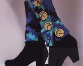 Fleece Legwarmers Blue with Splated Wood Button