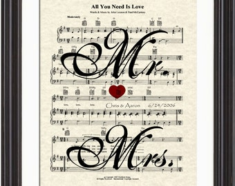 The Beatles All You Need Is Love Song Sheet Music Art Print, Bicycle Art Print, Mr & Mrs Art Print, Wedding and Anniversary Art Print