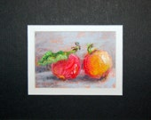 Crab Apples - small original pastel painting, matted to 5 x 7