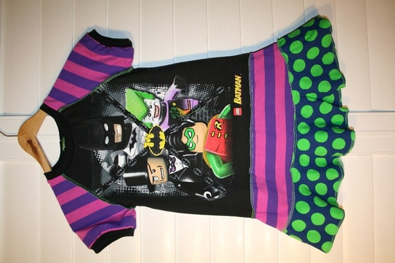 ON SALE A dress made of authentic lego batman tee.. super cool funky recycled upcycled repurposed pieced dress or tunic size 6/7