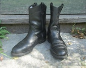 Men's Vintage Red Wing Black Leather Boots Motorcycle Western Cowboy 10D 10 D Style 1194 Made in USA
