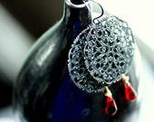 "Vampire Kiss Halloween Black Red Sterling Silver Brass Earrings - ""Red Love"""