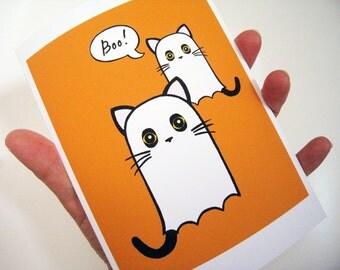 Ghost Kitties Halloween Boo Greeting Card