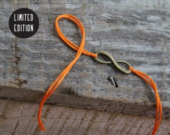 halloween infinity bracelet orange thread wish bracelet friendship bracelet bronze infinity wishlet letterhappy etsy halloween jewelry