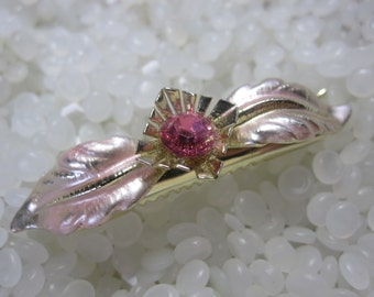 wonderful vintage barrette, pink gold leaves with pink rhinestone flower