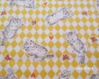 SALE - Ribbon Kittens Yellow - Half Yard - (ma130914)