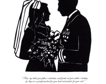 Custom Silhouette Wedding Portrait with Text at the Bottom