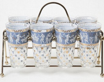 Vintage Glass Tumblers and Brass Holder, blue Greek pattern with gold