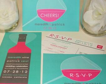 NEW SAMPLE Modern Wine Wedding Invitation, Teal Blue, Turquoise, Pink, Orange, Chocolate Brown, Pinot, Cabernet