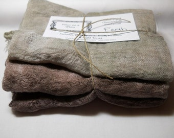 Earth- 3pc Hand-Dyed Cheesecloth Gradation
