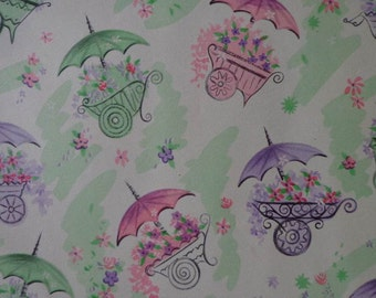 Vintage Gift Wrap 1950s Shower Theme Wrapping Paper-2 Sheets-Umbrellas Flower Carts Green, Lavender & Mauve for Baby or Wedding Shower Gift