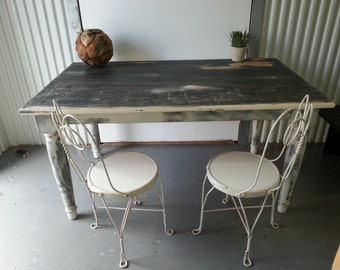 Vintage shabby chic black and white country  dining table farm table  table display table  distressed piece