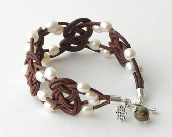 Celtic Knot Leather Bracelet. Freshwater Pearls with Sterling Silver