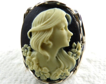 Flower Lady Cameo Ring Sterling Silver Jewelry