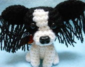 Little Papillon Crochet Dog Amigurumi In Black and White, Canine, Stuffed Dog, Stuffed Animal