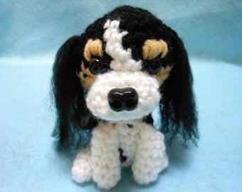 Cavalier King Charles Spaniel Crochet Dog in Tri-Color,Amigurumi, Canine, Stuffed Dog, Stuffed Animal, Dog Lover
