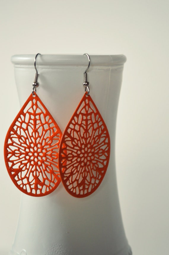 Large Bright Orange Metal Filigree Boho Earrings Dangle Dangly Lacy Lace Bohemian Hippie Chic