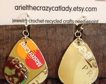 Recycled credit card earrings sears gold MasterCard