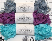Seam Binding Ribbon- Scrunched- Shabby- Crinkled Rayon-Scrapbooking-Purple -Silver -French Vintage -Doll Making-Australia- Empress Apartment