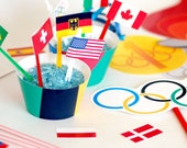Instant Download Olympic Party Printable Set - Photo Booth Props - Cupcake Toppers and Wraps - Flags of the world