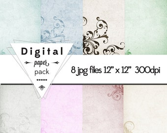 Vintage Subtle Filigree Paper Pack Pastel Sienna Instant Download Retro Calm Wedding DIY grungy flower