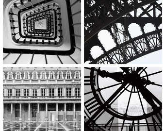 Paris Photography - Black and White Photography Set of (4) - Paris in the rain, Paris stairs, Musee d'orsay Paris clock, Eiffel Tower