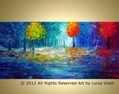Original Large Modern Painting Trees Landscape MAGIC FOREST into MOONLIGHT 48x24 by Luiza Vizoli