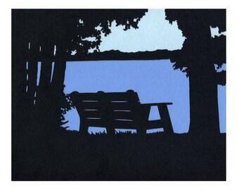 Piseco Lake Bench Adirondacks Wall Art Silhouette Paper Cut Art  8X10 Unframed.