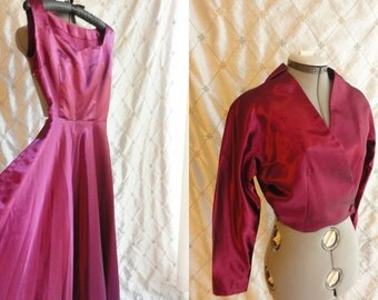Party Dress // Vintage 1940s 1950s Claret Wine Slipper Satin Party Dress and Jacket  -Full Skirt Size XS