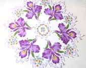 Vintage Hanky Purple Orchids Round Heirloom - TenderLane