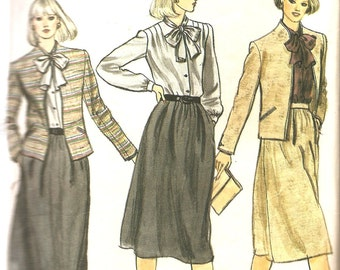Vintage Sewing Pattern - 1980s Pattern - Vogue Sewing Pattern - Jacket - Skirt - Secretary Blouse - Career Wear - Vogue 7830 - Bust 34""
