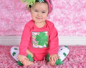 St, Patrick's Day Shamrock Pink Green Box Shamrock Chevron Embroidered Shirt newborn, 3,  6, 12 18 month 2T 4T 6T