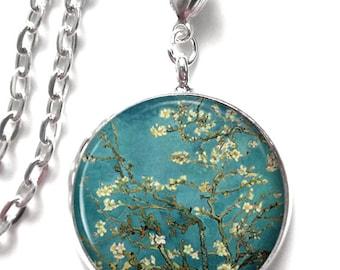 Van Gogh Almond Branch, Resin Pendant, Art Pendant Almond Photo Charm Resin Jewelry (0144)
