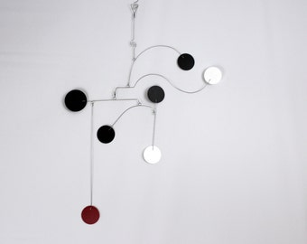 Black and White Mobile - Seven Disc Style - Minimalist Art Mobile with Circles and Interesting Balancing  - Great for Small Spaces