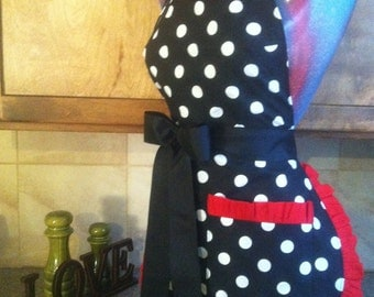 RETRO, Polka Dot Apron, Pin up apron, Pick Your Color Trim, Scotch Guarded