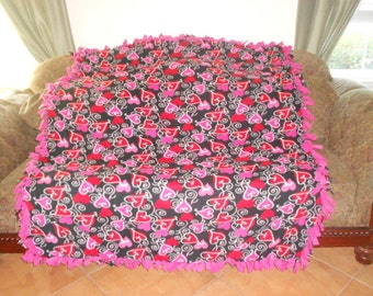 Pink Hearts Red Hearts on Black Hot Pink Back Fleece Tie Blanket No Sew Fleece Blanket No Sew Throw Fleece Throw 60x72 Approximate size