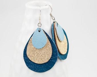 Leather Earrings - Teardrop Layers (Azure / Gold / Sky Blue)