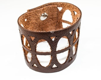 Leather Cuff Bracelet - Oval Cutouts (Dark Chocolate Brown) - Size Large