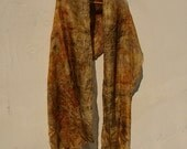 Silk scarf hand dyed eco printed