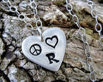 Peace Love & initial Necklace - handmade fine silver heart charm with peace sign, heart, letter, textured sterling chain- free shipping USA