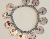 Medical Alert Charm Bracelet - stainless steel bracelet and 1 sided discs - Swarovski channel crystal or round pearl dangles